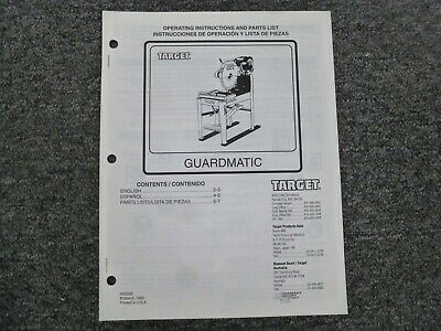 Target C6750 C6751 Guardmatic Masonry Saw Parts Catalog Owner Operator Manual