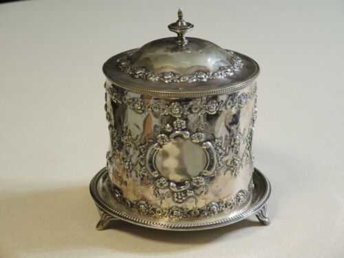 Old Sheffield Plate Biscuit Box by WRN & Co 1890s English Antique Silver Plate