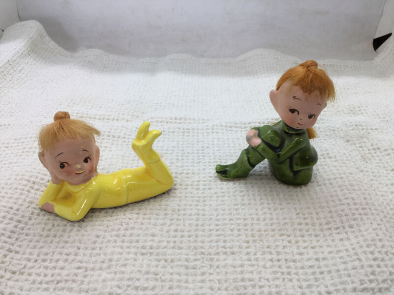 Vintage Pair of Ceramic Green and Yellow Pixie Elves Japan