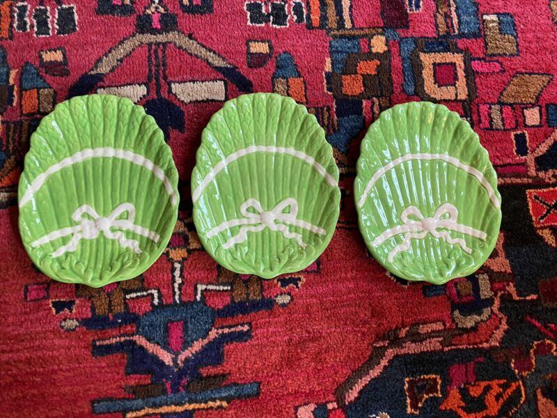 Vintage Asparagus Ribbon Bow Plates Green (3) Grandmillennial Hollywood Regency