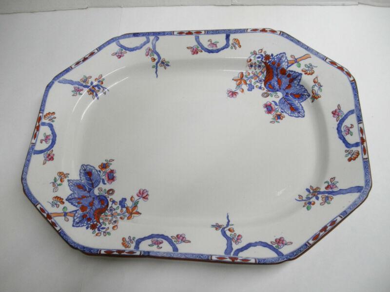 "Antique Copeland Late Spode Cabbage, Tobacco Leaf Large Platter 19"" x 14"""