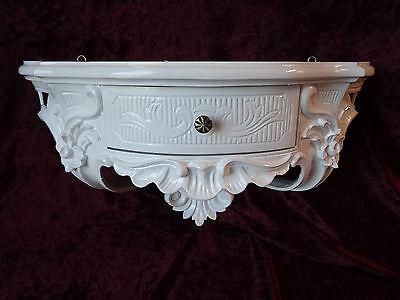 Wandkonsole Antik/Spiegelkonsolen/ BAROCK Weiß Hochglanz B:50cm cp84 Weiß ablage