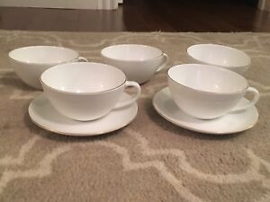 Mikasa Simplicity Gold Bone China Cups & Saucers