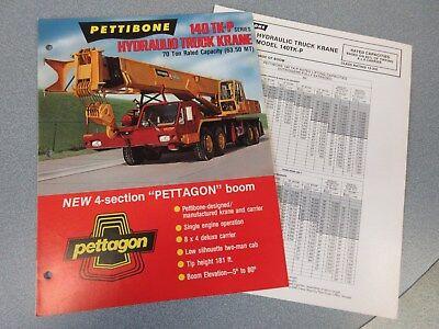 Rare Pettibone 140 Tk-p Hydraulic Truck Krane Sales Brochure