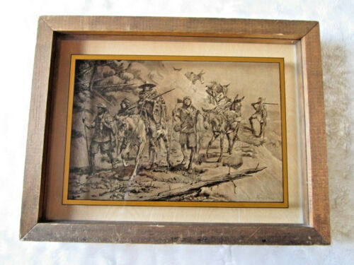 VINTAGE FREDRICK REMINGTON LUCID LINES PHOTOGRAPHY ON GLASS TRAIL OF TEARS 1974
