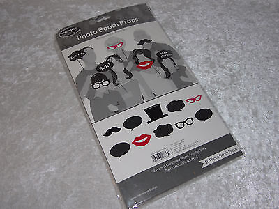 Photo Booth Prop 10pc Glasses Hat Lips Mustache Thoughts & Chalk