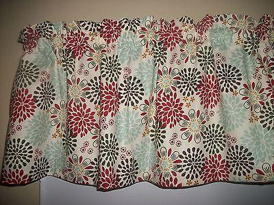 Dark Gray Red Blue Polka Dot Flower Circle fabric window topper curtain (Flower Fabric Valance Curtain)