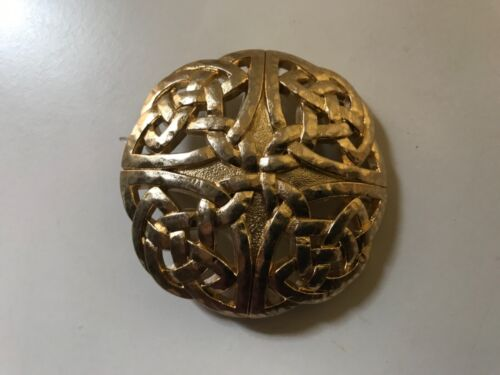 "Rare , solid , ""hand beaten"" Celtic Knot unisex  belt buckle .Gold plaited."