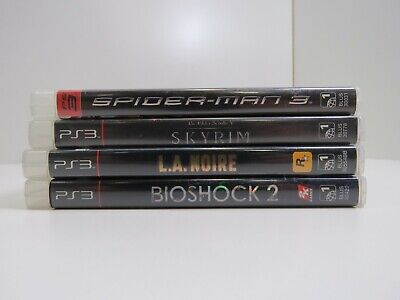 Lot of 4 PS3 Games Skyrim/L.A. Noire/BioShock 2/ Spiderman 3 ( Tested/Working)