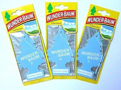 (1,71€/Einheit) 3 x WUNDER-BAUM® Summer Cotton Lufterfrischer Sommer Auto Duft - 3 Stück Office
