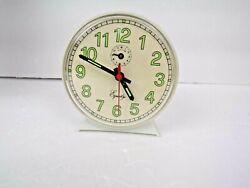 Vtg Equity Wind Up Alarm Clock / Mechanical  White Alarm Clock / works good
