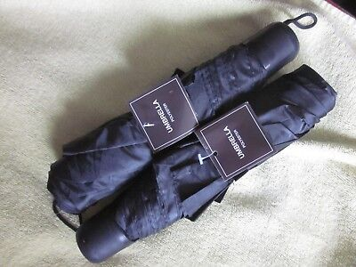 "2 New Black Economy Unisex Collapsible Travel Umbrellas 9 1/2"" Closed"