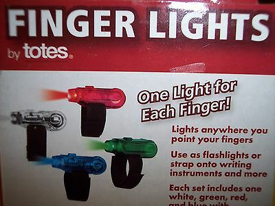 Totes Battery Operated Finger Lights W/adjustable Straps,set Of 4, Bl/rd/grn/wht - Finger Flashlights