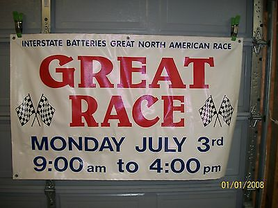ORG. 1990'S GREAT AMERICAN ANTIQUE CAR RACE VINYL BANNER 36 X 57 IN YORK, PA