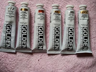 Golden Acrylics 2-ounce Tubes 6 Metallic Colors Acrylic Colors 2 Oz Tube