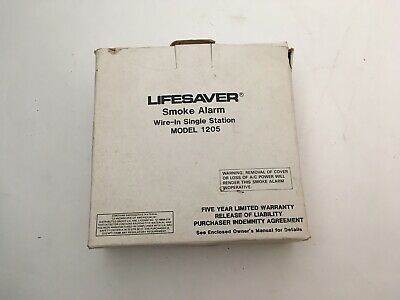 Nib New Lifesaver 1205 Fire Alarm Wire-in Single Station Smoke Detector