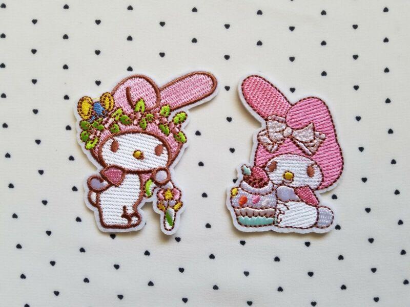 Sanrio Kawaii My Melody Embroidery Iron Patch Applique Cloth Sticker 2pcs