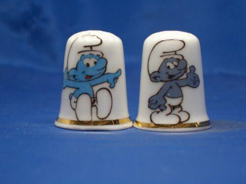 Birchcroft  Thimbles Pair -- Smurfs --  Free Dome Gift Boxes