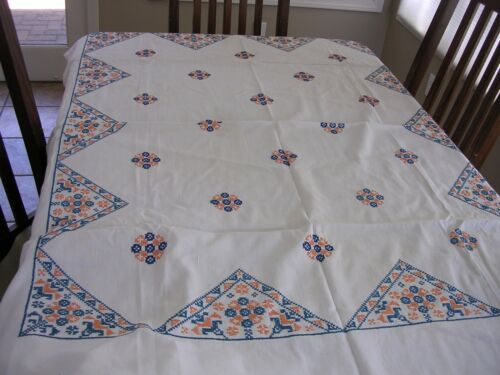 #CG Vintage Cross Stitch Embroidered Tablecloth on Cottage Chic Feedsack 46 x 60