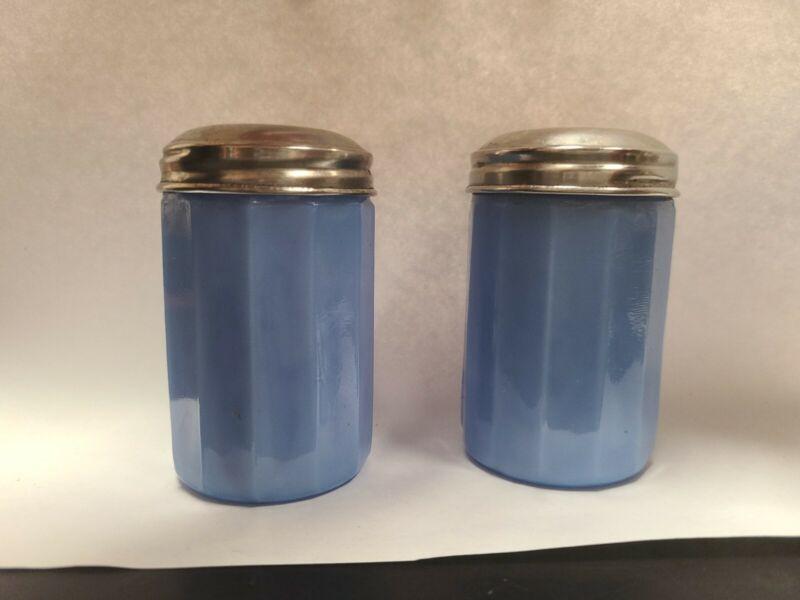 "Jeanette Glass Co. Delphite Blue Glass Salt And Pepper Shakers 3"""