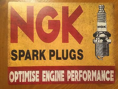 Tin Sign Vintage NGK Spark Plugs Optimise Engine Performance