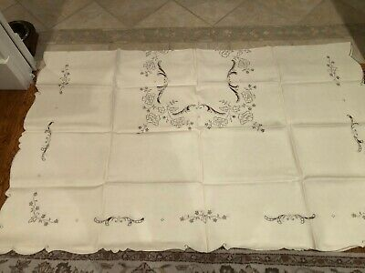 """Vintage Ivory Linen Taupe Embroidered Tablecloth & 8 Matching Napkins, """"Santini"""""""