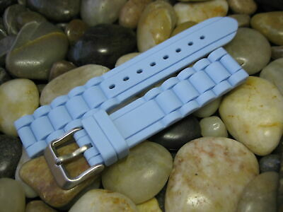 Light Blue Rubber Strap - 18 mm Hadley Roma LS3320 Light Blue Silicone Rubber Watch Band strap diver dive