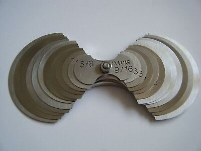 Davis-large Radius Gage Set -24 Sizes--916-2 By 116 Increments