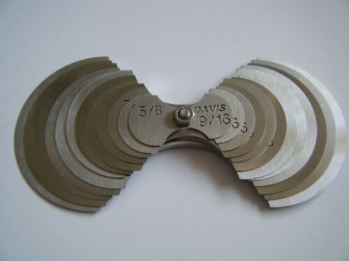 "Davis-large radius gage set -24 sizes--9/16""-2"" by 1/16"" increments"