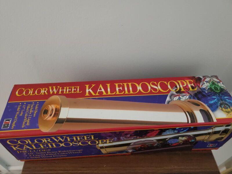 "KOCH KALEIDOSCOPE 10"" Brass 2 liquid color wheels wood display in original box"