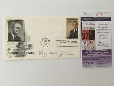 Lady Bird Johnson Signed Autographed First Day Cover JSA Certified