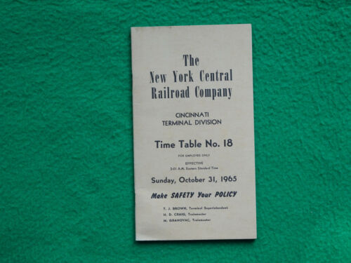 New York Central RR NYCRR Cincinnati Terminal Division ETT October 31 1965 #18