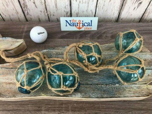 "(5) - 2"" Aqua Glass Fishing Floats On Rope ~Nautical Fish Net Decor ~Light Blue"