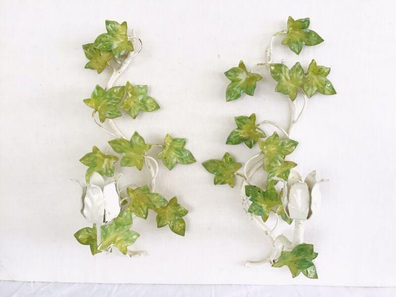 ITALIAN TOLE CANDLE SCONCE Pair Ivy Leaf Original COTTAGE VINTAGE MID CENTURY