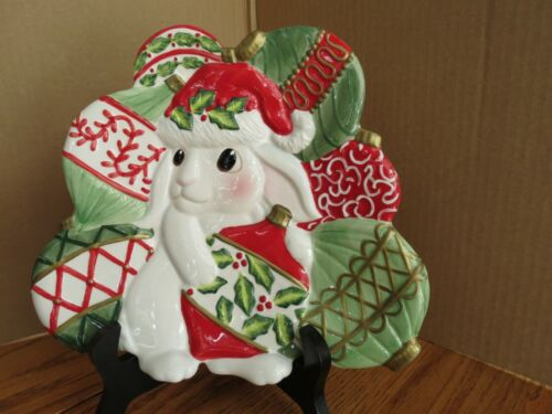 Fitz and Floyd Christmas Ornaments Bunny Blooms Canape Plate Boxed