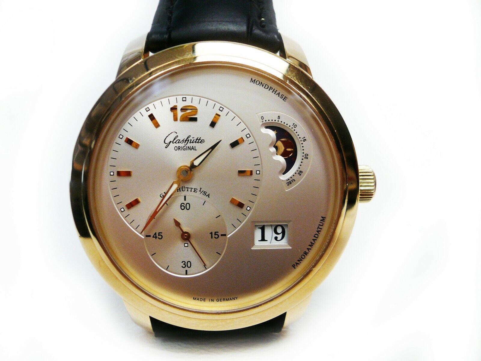 Glashutte Original Senator Panorama Date Moonphase 18K Gold Strap Wristwatch - watch picture 1