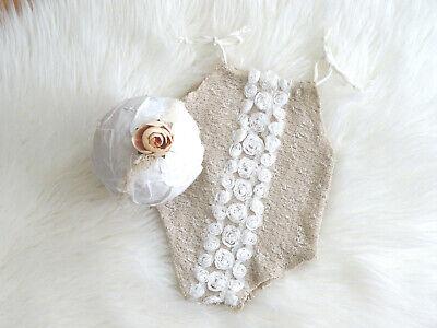 Baby Mädchen Outfit Body beige Blümchen weiß Haarband Baby Fotoshooting Set prop ()