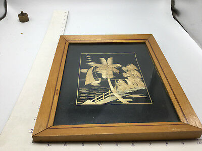 Vintage MALAY STRAW PICTURE - Framed  -- ART -- #2