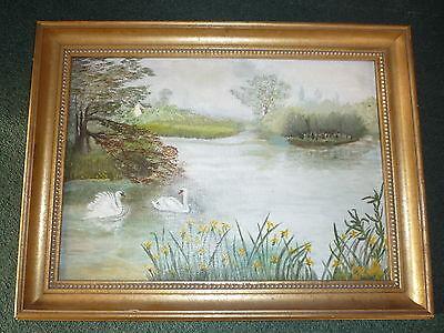 Original Landscape Lake Swans Oil Painting on Canvas Board - Wood Frame & Signed
