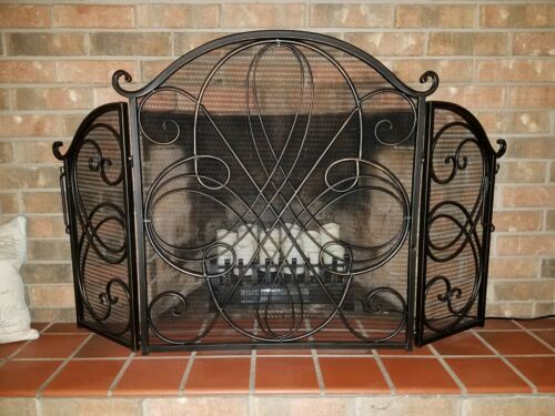 Vintage Sturdy Fireplace Screen Heavy Duty Protector Metal Large 3 Panel Safety