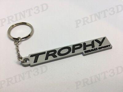 """Porte clés / Keychain / Keyring PVC souple Renault Sport """"TROPHY"""" Noir logo"""