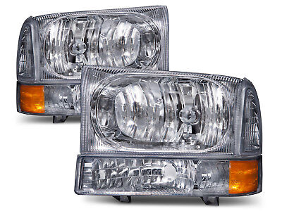 1999-2004 Ford F250 F350 F450 Superduty Excursion Chrome Headlamps Headlights