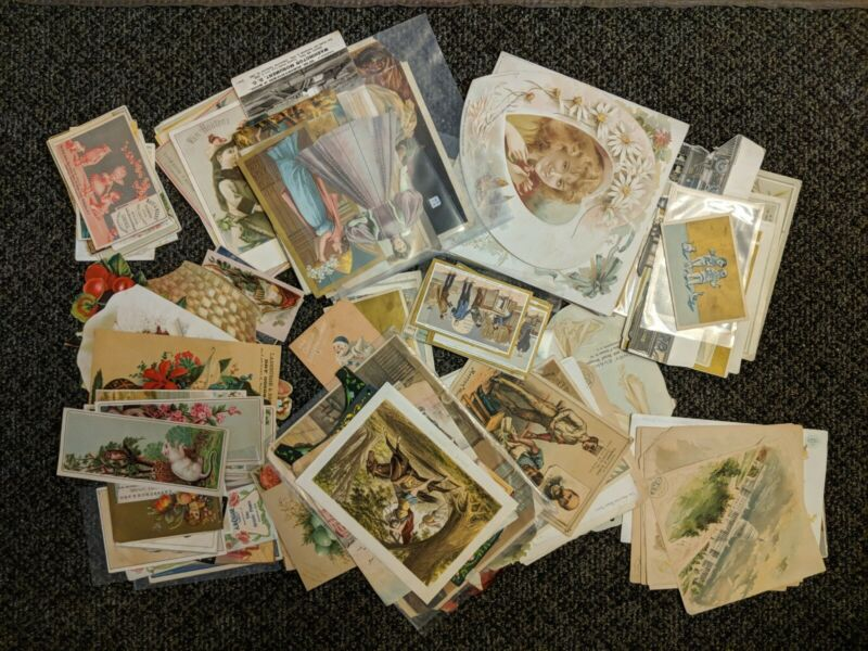 LOT LARGE Antique VICTORIAN trade cards Sewing Clothing Goods Die Cut Washington