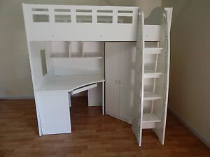 PURE WHITE Single loft bunk bed SYDNEY DELIVERY & ASSEMBLY Windsor Hawkesbury Area Preview