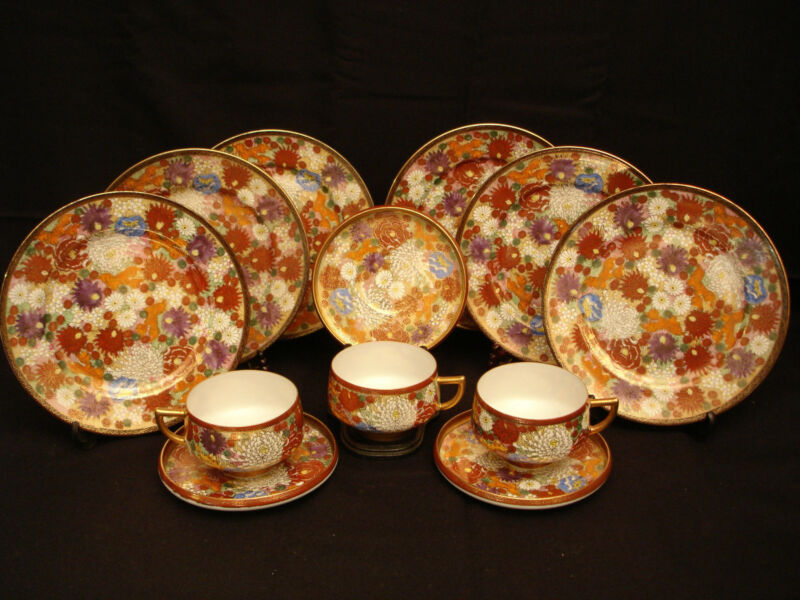 MARKED Kutani JAPANESE MEIJI SATSUMA TEA SET / EGGSHELL CUPS & SAUCERS / PLATES