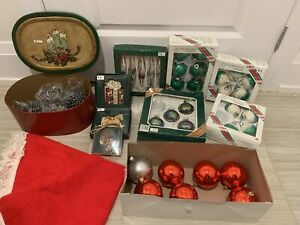 40 pieces Lot sale Christmas ornaments green red silver