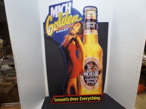 1993 MICHELOB GOLDEN DRAFT - HOT CHICK- METAL ADVERTISING BAR SIGN