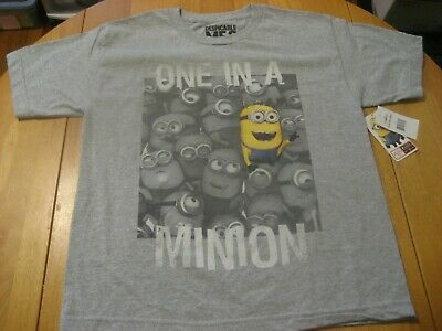 Despicable Me 2 One In A Minion Child's Large Gray T-Shirt NEW NWT 100% Cotton  - One In A Minion Shirt