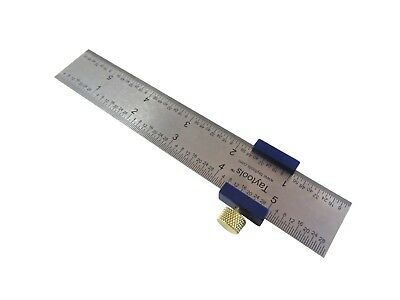 Ruler Stop Fence W 6 Machinist Rule Anodized Brass Knob Taytools 108883
