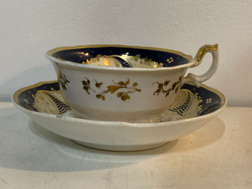 Antique Likely English Porcelain Cobalt Gold & Floral Decorated Cup & Saucer